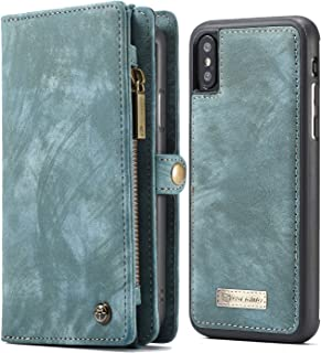 XRPow iPhone Xs Wallet Case, iPhone X Detachable Slim Cover, Premium Leather Folio Magnetic Wallet Protection Card Slot Holder Removable Flip Carrying Cover for Apple iPhone X/XS 5.8
