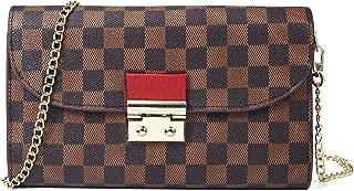 Womens Checkered Flap Clutch Purse Small Chain Wallet Cross Body Bag