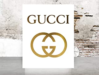 Glam Wall Art Gucci Logo Poster Real Gold Foil Print Wall Art Prada Marfa distance like Gossip Girl Fashion Color Gold and White poster 0541 size: 11