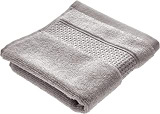 iDesign Spa Washcloth with Hanging Loop, 100% Cotton Soft Absorbent Machine Washable Towel for Bathroom, Shower, Tub - Gray
