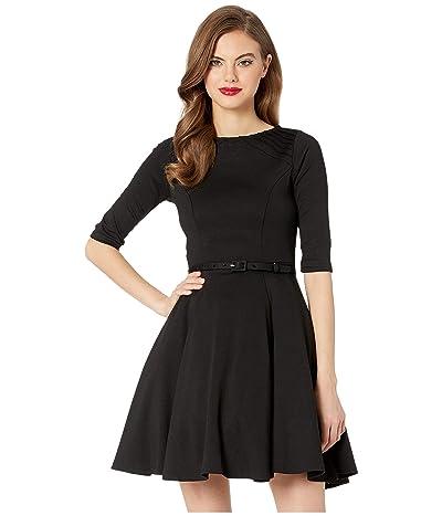Unique Vintage Knit 1/2 Sleeve Fit Flare Dress (Black) Women