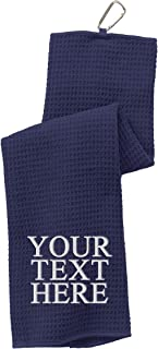 Personalized Custom Golf Towel - Add Your Embroidered Name or Monogram - Trifold Golf Towels with Grommet and Carabiner Clip, Hook