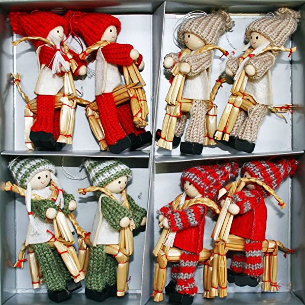 ScandinavianShoppe Tomte Straw 山羊纱饰品上的女孩和男孩 8 个装