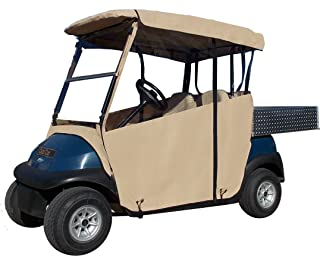 "Golf Cart Cover – 3-Sided ""Over-The-Top"" Cart Cover for Yamaha Drive & Drive 2 – Drivable Golf Cart Cover Enclosure – Sunbrella Canvas - Cart Cover for Golfers – Fits Golf Bags, Utility Box"