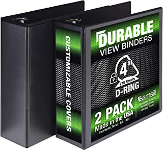 Samsill Durable 3 Ring View Binders, 4 Inch Locking D-Ring - Holds 800 Sheets, PVC-Free/Non-Stick Customizable Cover, Blac...