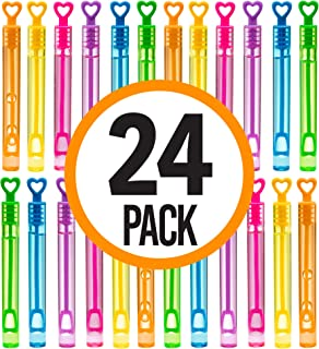 Prextex Pack of 24 Mini Touchable Bubble Wands Neon Colored Heart Shaped Fun Party Favor, Summer Toy for Kids
