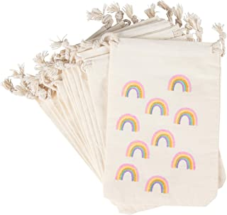 Party Favor Bags - 12-Pack Rainbow Party Favor Bags - Mini Canvas Drawstring Treat Gift Pouches, Rainbow Party Supplies   Kids Birthdays, Unicorn Parties, Rainbows with Gold Glitter, 4 x 6 Inches