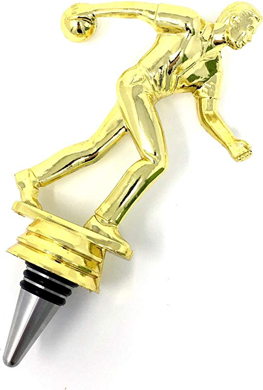 Bowling Wine Bottle Stopper Handmade With Stainless Steel Base And Repurposed Trophy Top