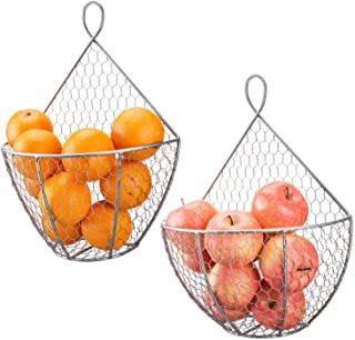 MyGift Silver Metal Chicken Wire Wall Mounted Hanging Produce Baskets, Set of 2