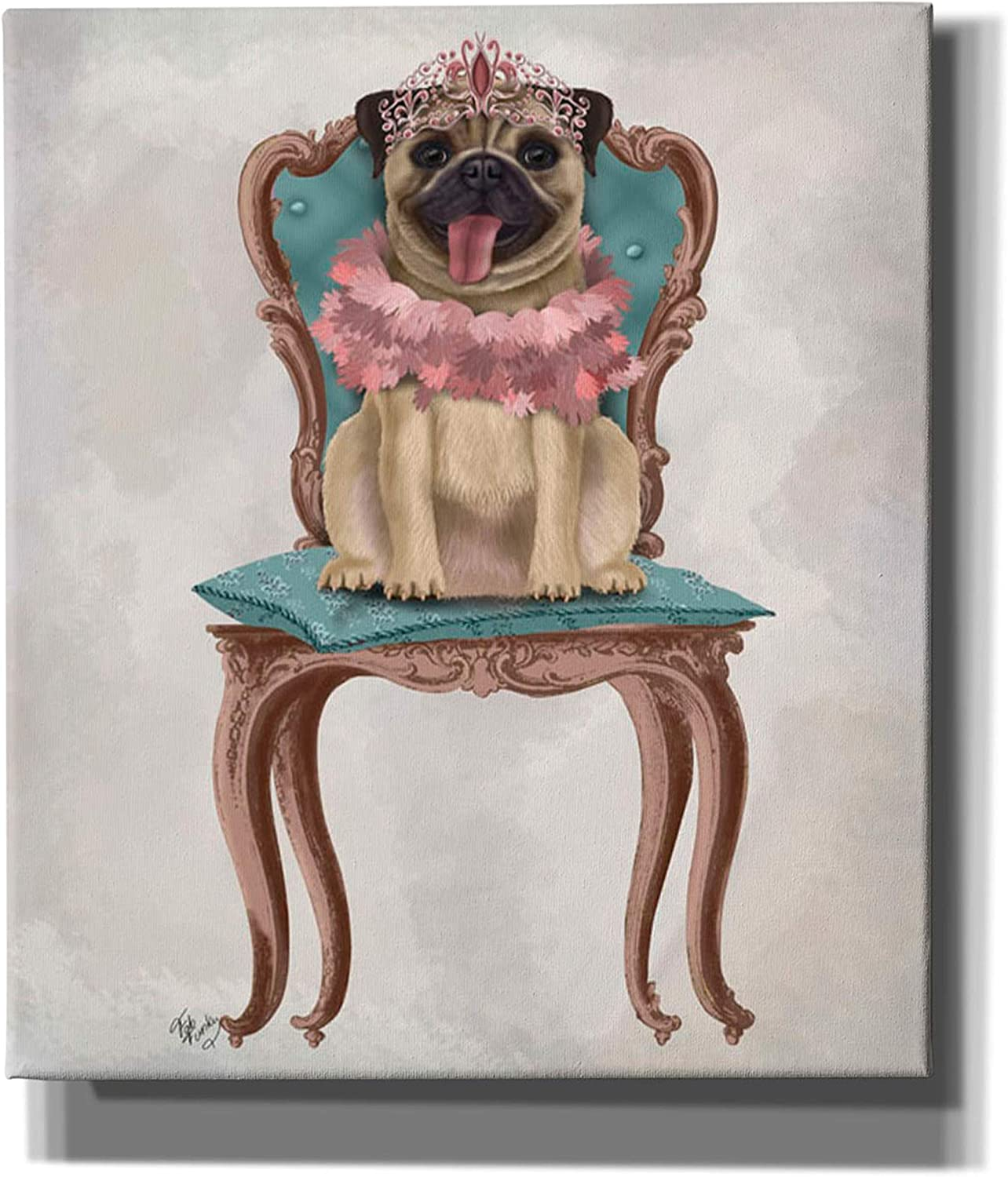 Epic Graffiti 'Pug Princess Don't miss the campaign on Chair' by Wall Canvas New popularity Funky Fab