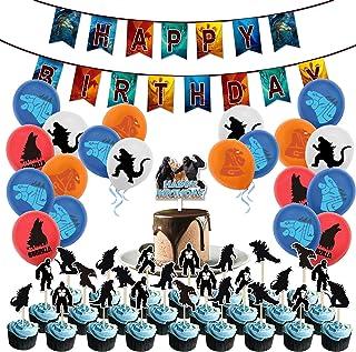 King Kong Vs. Godzilla Theme Birthday Party Latex Balloon Decoration Set,Birthday Party Decorations,Happy Birthday Banner