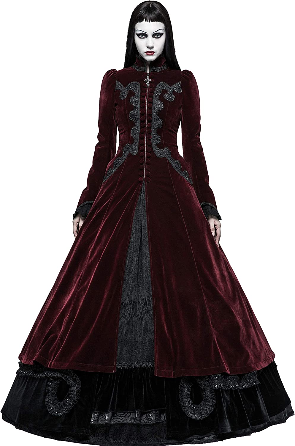 Punk Rave Women's Wine Red Velvet Gothic Victorian Palace Swallow Tail Long Dress Coat
