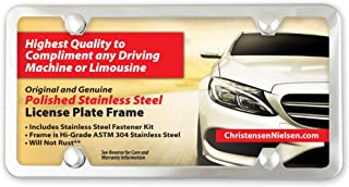 License Plate Frame 4 Holes, Polished Stainless Steel, Mirror Finish - Not Chrome Plated, Slim with SS Screws and Screw Caps Kit, Christensen and Nielsen