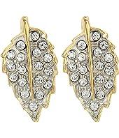 "1"" Gold Two-Tone Rhinestone with 1 Leaf Post Earrings"