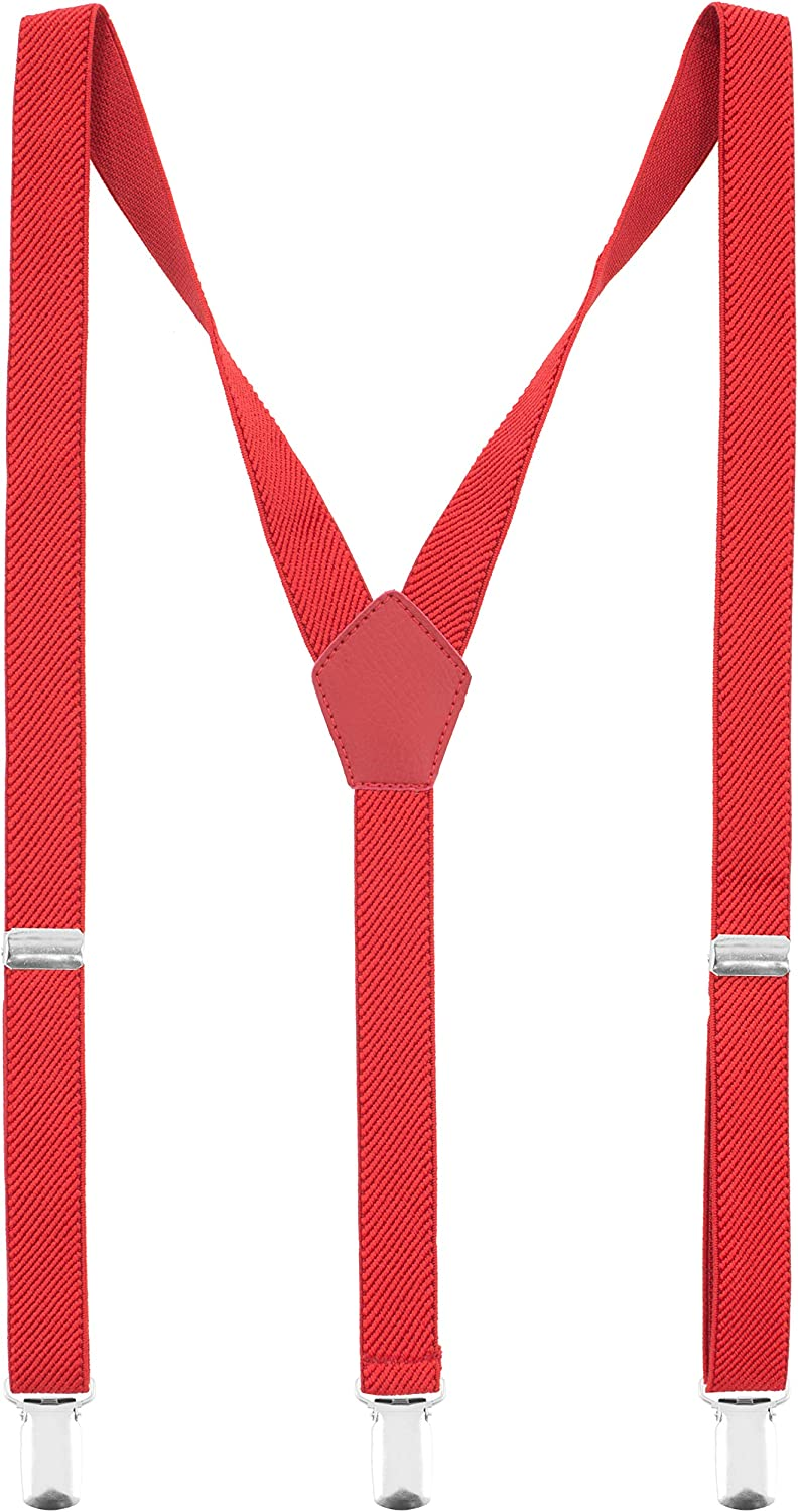 Slim Suspenders in 4 sizes Y-back Shape 2 cm, by Bow Tie House (Babies, Red)