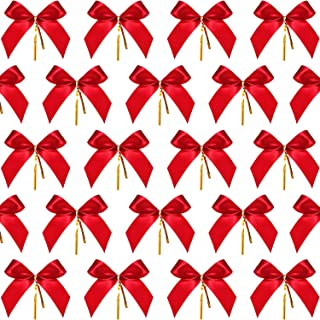 Sumind Christmas Bow Ribbon Bow for Christmas Tree, Christmas Wreath, Gift Decoration (48 Pieces, Size S)