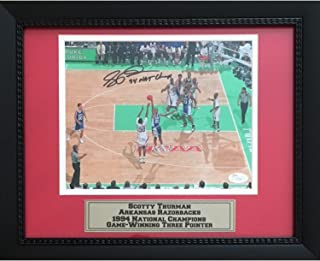 Scotty Thurman Autographed Arkansas Razorbacks 1994 National Championship Signed Basketball 8x10 Framed Photo JSA COA