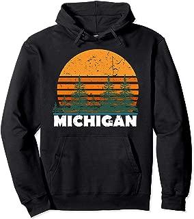 Michigan Hoodie   Vintage Retro Sunset MI State Hood Gift
