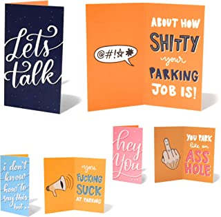 BAD PARKING Funny Hilarious Prank Deceiving Small Note Cards for Bad Parking Cars - 3x Designs (18-pack)