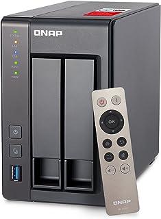 QNAP TS-251+ - Dispositivo de Almacenamiento en Red NAS (Intel Celeron Quad-Core, 2 Bahías, 2 GB RAM, USB 3.0, SATA II/III...