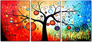 FLY SPRAY Rainbow Tree Colorful Oil Paintings Canvas Wall Art 3 Panels Framed Ready Hang Landscape Red Circle Modern Abstract Artwork Living Room Bedroom Office Home Decor