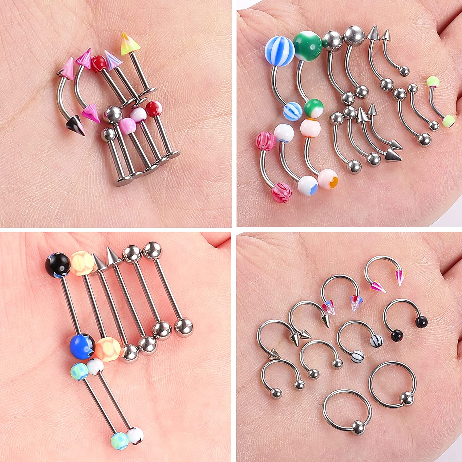 Ubjuliwa 185pcs Body Piercing Jewelry for All Piercings, Tongue Nipple Rings Eyebrow Lip Belly Button Barbell Nose Piercing Tragus Navel Body Jewelry for Women Piercings 14g-18g