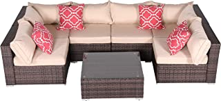 Do4U 7 Pieces Outdoor Patio PE Rattan Wicker Sofa Sectional Furniture Set Conversation Set- Turquoise Seat Cushions & Glass Coffee Table  Patio, Backyard, Pool  Steel Frame (Brown)