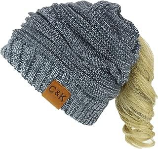 2 in 1 Winter Multi Knit Ponytail Slouchy Beanie Neck Warmer
