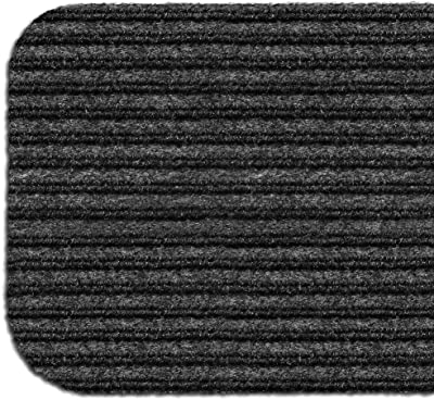 Set of 15 Skid-Resistant Double-Ribbed Carpet Stair Treads - Smokey Black - 8 in. X 30 in. - Several Other Sizes to Choose from