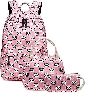 Abshoo Cute Lightweight Bookbags for School Girls Panda Backpacks with Lunch Bag (Panda Pink Set)