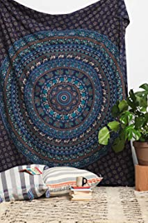 RSG Venture Blue Elephant Mandala Tapestry Wall Hanging Bohemian Tapestry Psychedelic Wall Tapestry Flower Psychedelic Tapestry for Dorm Decor(Blue, Queen(84x85Inches)(215x230Cms))