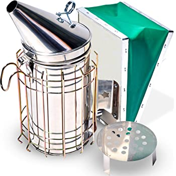 Stainless Steel 11-inch Smoker for Beekeeping with Heat Chamber, Burn Shield, Green Bellow and Heavy Duty Features for Producing Smoke When Working Bee Hives