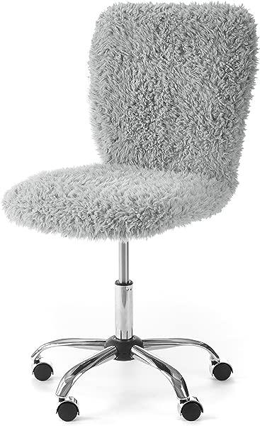 Urban Shop WK657595 Faux Fur Rolling Task Chair Gray