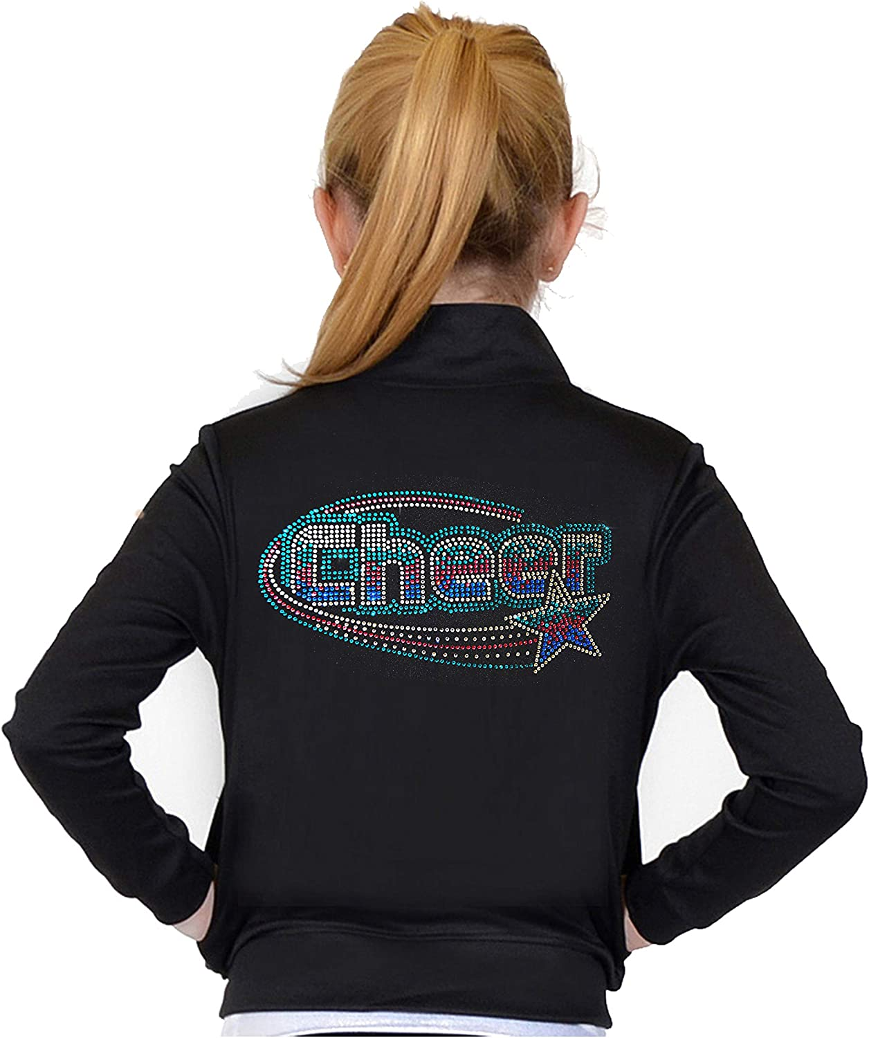 Stretch is Comfort Girl's and Women's Live Love Cheer Warm Up Black Jacket