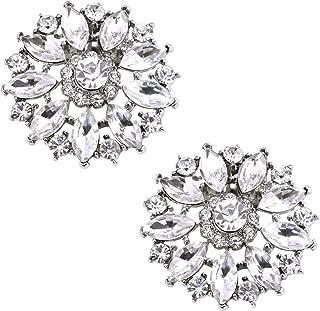 ElegantPark Fashion Decorative Round Rhinestones Crystal Wedding Party Shoe Clips 2 Pcs