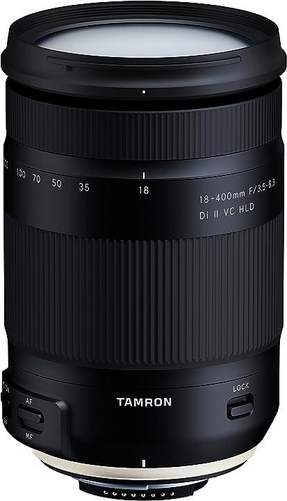Obiettivo per nikon, 18-400mm f/3,5-6,3 di ii vc hld, zoom lock, stabilizzatore d`immagine, nero tamron B028N