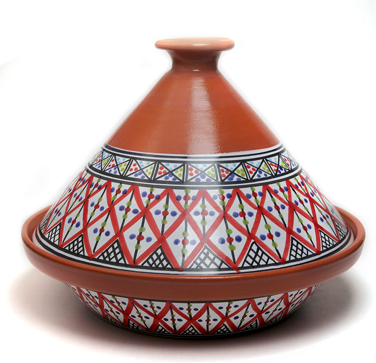 Kamsah Hand Made and Hand Painted Tagine Pot | Moroccan Ceramic Pots For Cooking and Stew Casserole Slow Cooker (Large, Supreme Bohemian Red)