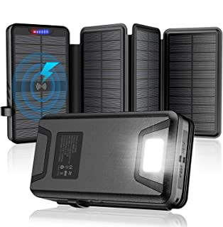 Solar Charger 35800mAh Solar Power Bank with Dual 3.1A Outputs 10W Qi Wireless Charger Waterproof Built-in Solar Panel and... photo