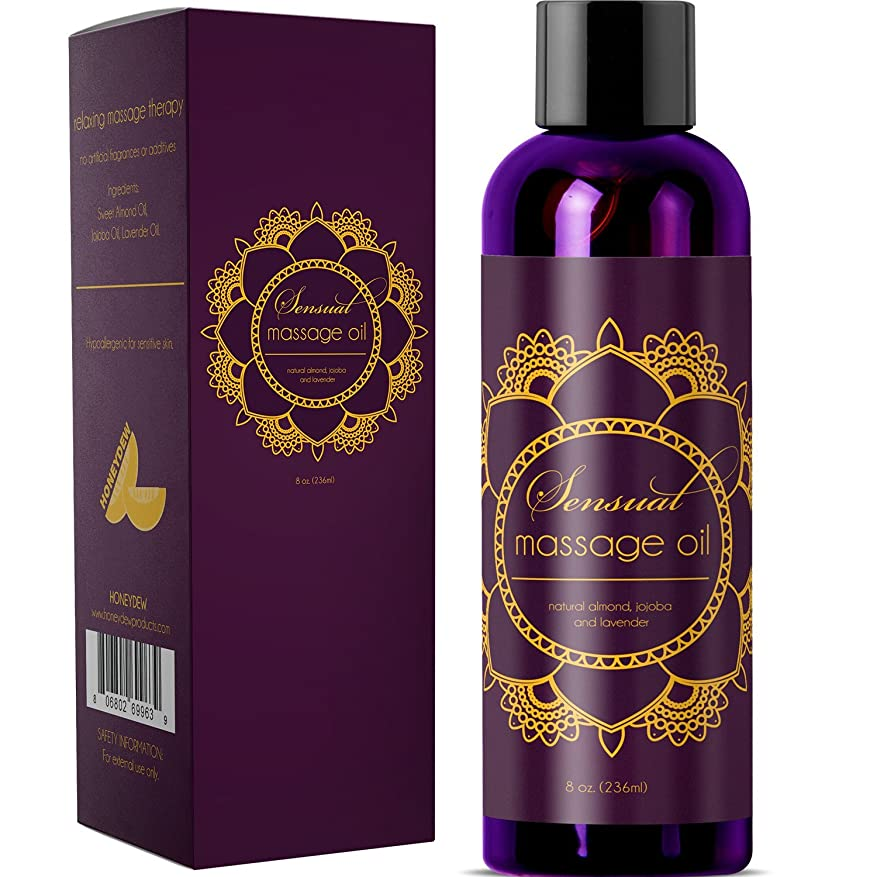 バーゲンつばスナックSensual Massage Oil w/ Pure Lavender Oil - Relaxing Almond & Jojoba Oil - Women & Men - 100% Natural Hypoallergenic Skin Therapy 8 oz. - USA Made by Honeydew