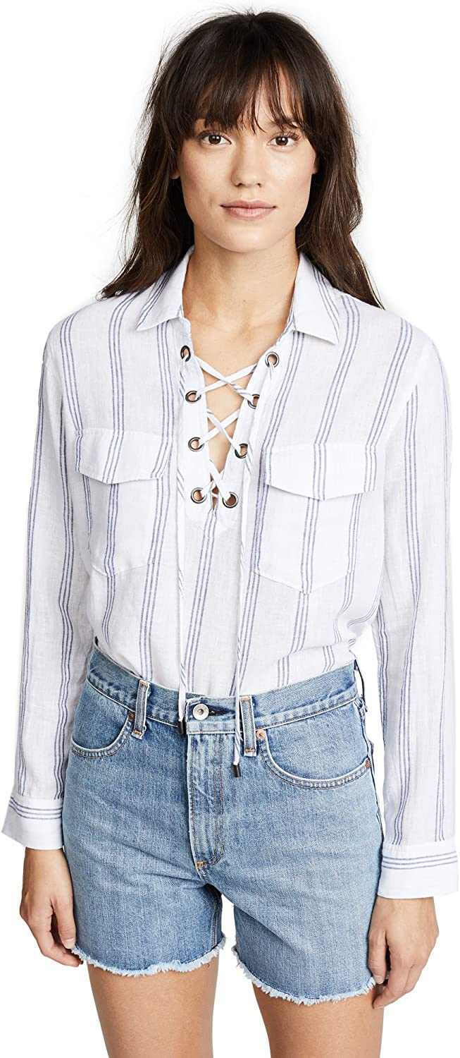 Rails Womens Matea Linen Striped Blouse
