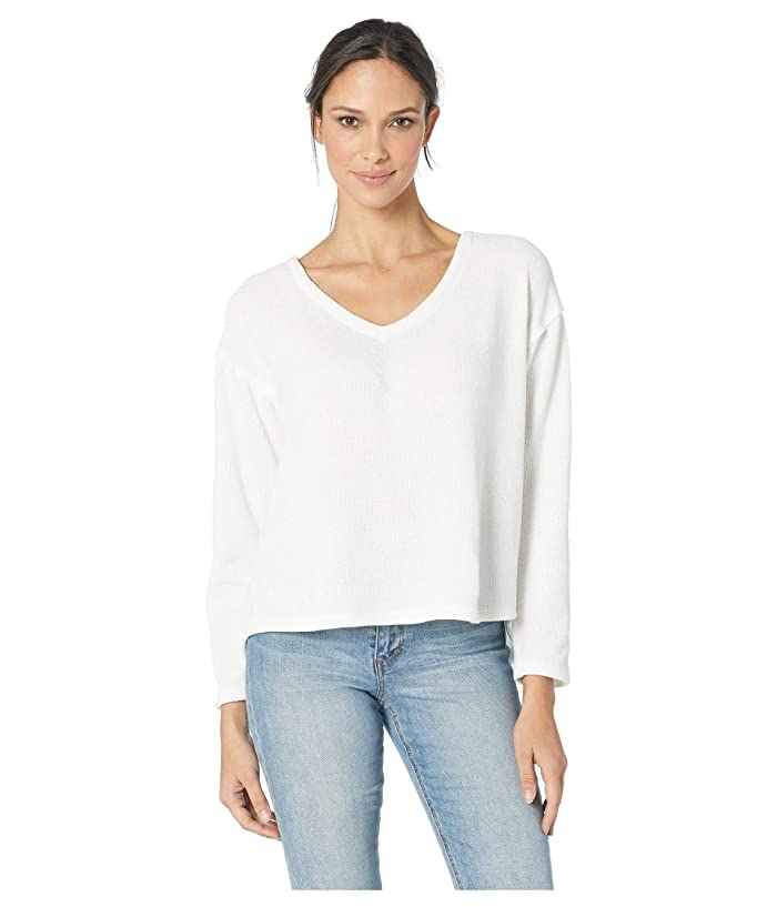 Dylan by True Grit Cozy Crush Claire V-Neck Long Sleeve Classic Pullover (White) Women
