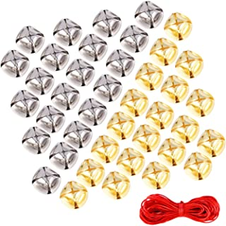 Sumind 1 Inch Jingle Bells Craft Bells Christmas for Festival Decoration DIY Craft with 20 m Red Cord, 60 Pieces, Gold and Silver
