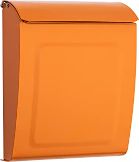 Architectural Mailboxes 2594O Orange Aspen Locking Wall Mount Mailbox, Small,