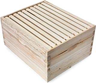 Honey Keeper Beehive 10 Frame Kit Super Box and 10 Deep Frames with Foundations for Langstroth Beekeeping