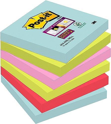 Post-it Super Sticky Foglietti, 90 Fogli, Confezione da 6 Blocchetti, 76 x 76 mm, Multicolore (Miami)