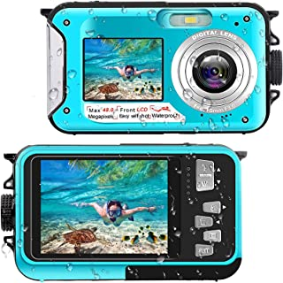 Onderwatercamera, Full HD, 2,7 K, 48 MP, 10 ft camera, waterdicht, dual scherm, 16 x digitale zoom, snorkelen, waterdichte...