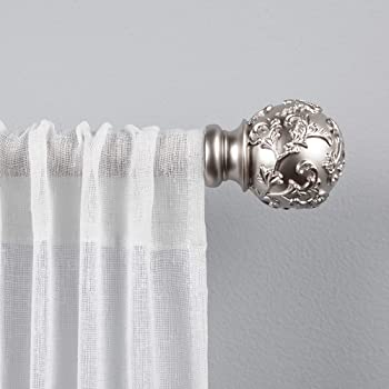"Exclusive Home Curtains Vine 1"" Curtain Rod and Finial Set, 66"" -120"", Matte Silver"