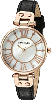 Women's Glitter Accented Leather Strap Watch