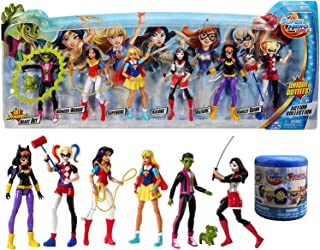 Unique Outfits 6 Figures Pack DC Super Hero Girls Action Collection Beast Boy from Teen Titans Pig + Harley Quinn, Wonder Woman, Supergirl, Batgirl, Katana & Squishy Blind Capsule Fashem Character