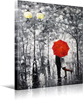 Lovers Kiss Under The Red Umbrella On The Street Lamp HD Picture Print Canvas Wall Art Modern Giclee Artwork Home Decor Stretched and Framed Ready to Hang 30x40 inch(70x100cm) 1pc